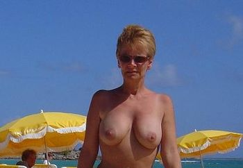 Grandmother Of 6 At The Beach