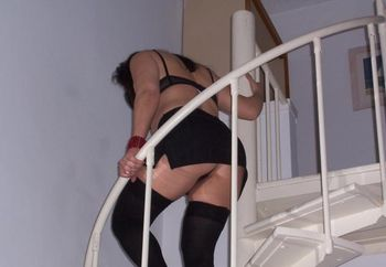 Hot Babe On Spiral Stairs