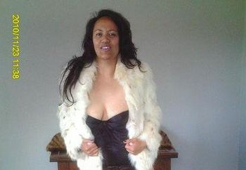 cherrygirl in fur and black lingerie