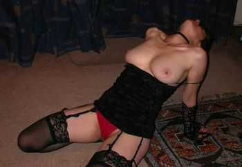Red knickers and black stockings