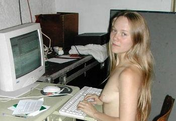 Sexy girlfriend at computer