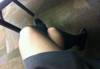 Upskirt with Nylons. We want to trade