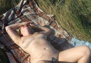 Naughty MILF Naked Outside 4
