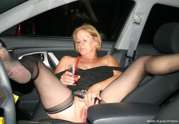 My Slut Wife Posing In Her Car
