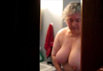 wife in bathroom showing tits