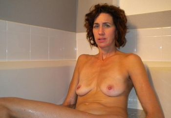 Cyndi in the bathtub