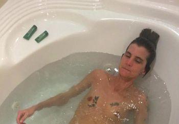 Skinny tattooed housewife