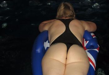 Gail Redhead floating on my thong