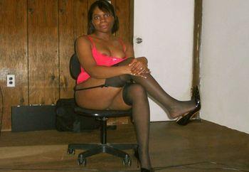 Ebony slut in red lingerie