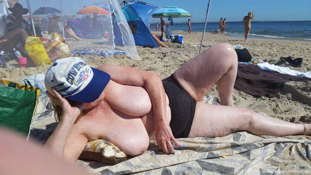 grandma at nude beach - image1