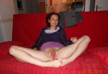 Milf Audrey On Red Couch
