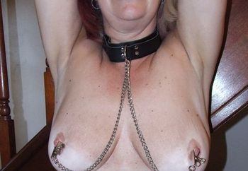 Mature Louise - Tan Leather & Tit clips