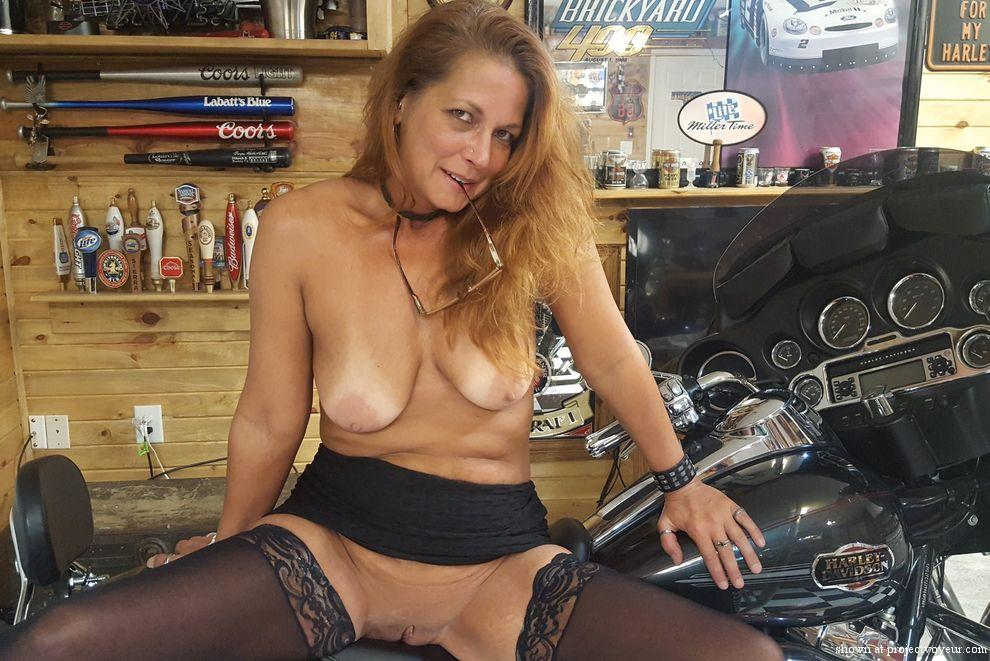 Nude on a harley