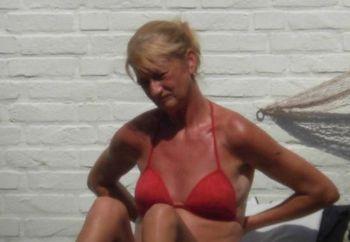 wife sunbathing