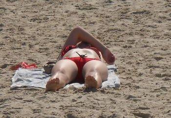 Redhead by the beach
