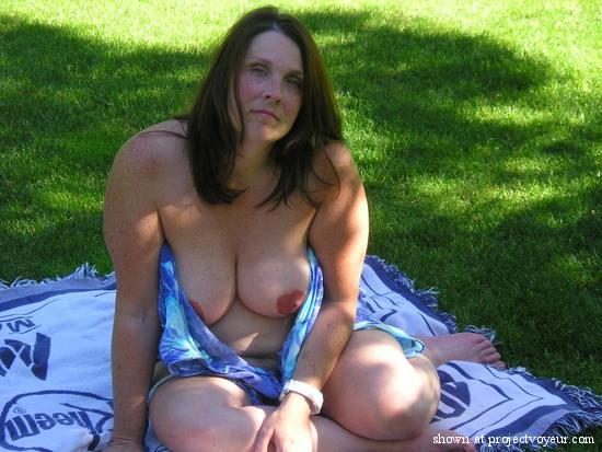 Nude wife in park