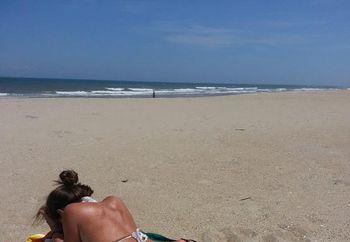 shy on beach