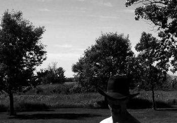 A cowboy catchin sun