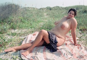 Slut Wife nude in public beach camping