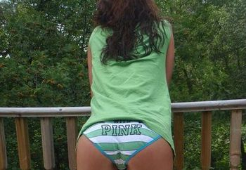 hotpussy in green striped panties
