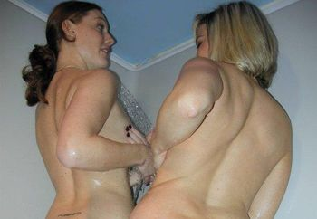Mariah & Lily play in the shower