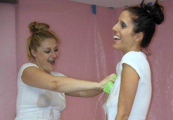 Lavender & Savanna in wet t-shirts