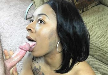 Ebony coed Ruby's blowjob audition