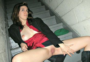 cumming on the stairs