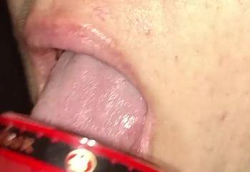 drinking cum from a shot glass