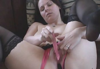 Whole pantyhose in my pussy  part 1