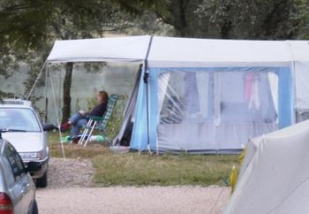 Dutch Woman Showering On Campsite
