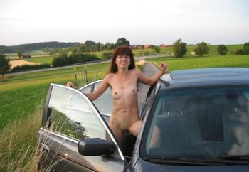 German Girl In And Out Off The Car