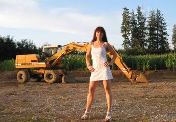 German Girl And A Excavator