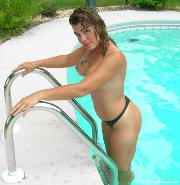 Milf nude in pool