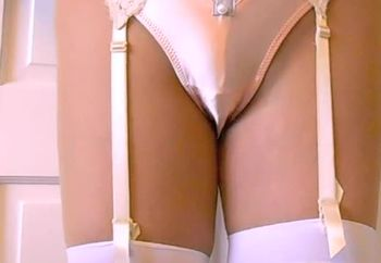 Leather Miniskirt Satin Panties