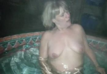 Playing in the hot tub