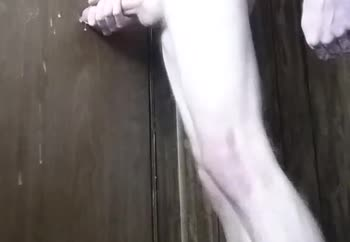 Cumming on a door