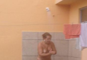 Nude In Shower In Backyard